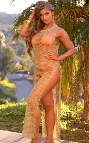 Valerie: Metallic Maxi Dress Cover-up in Gold - Chynna Dolls Swimwear