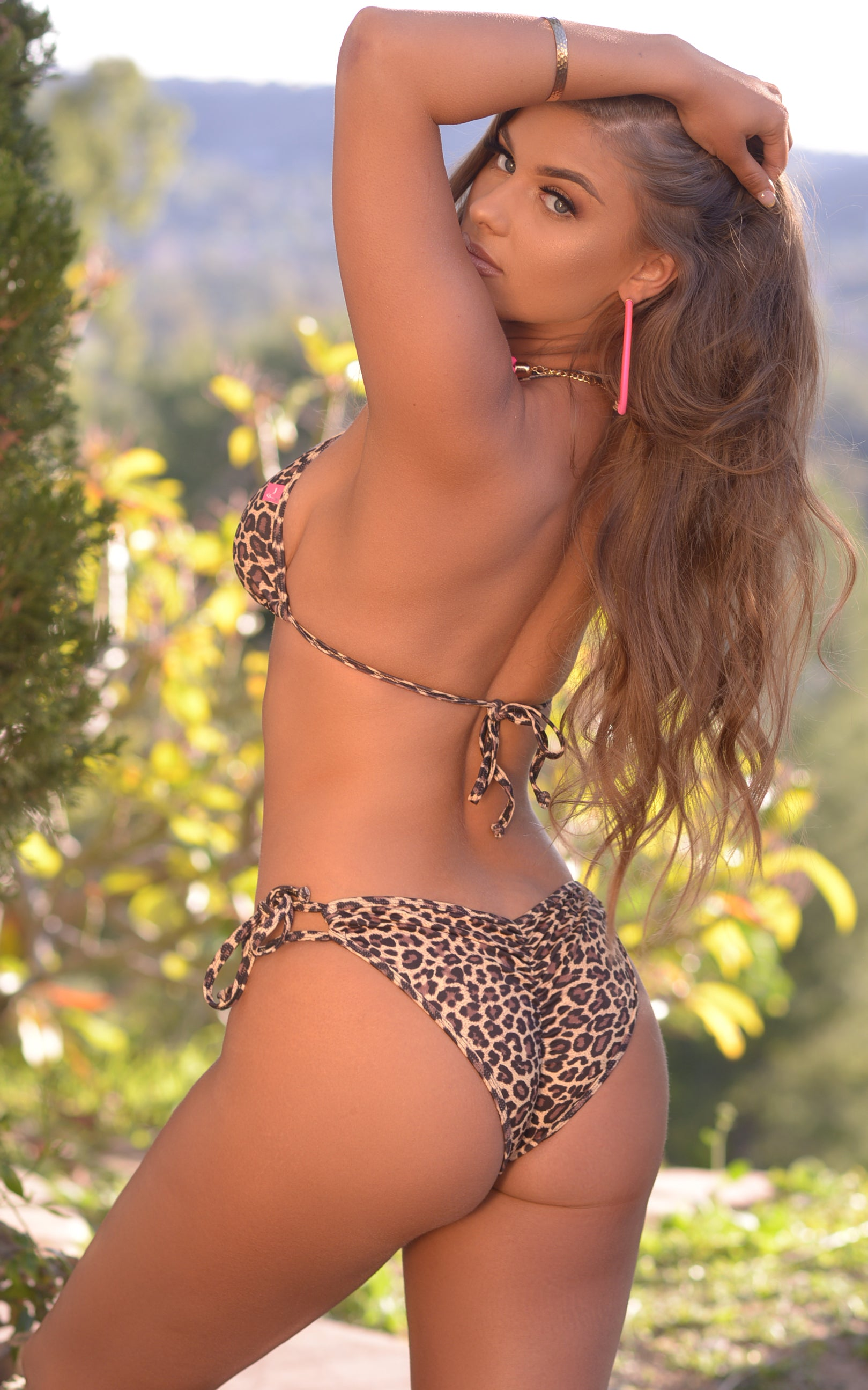 Hermosa: Double String Bathing Suit in Leopard - Chynna Dolls Swimwear