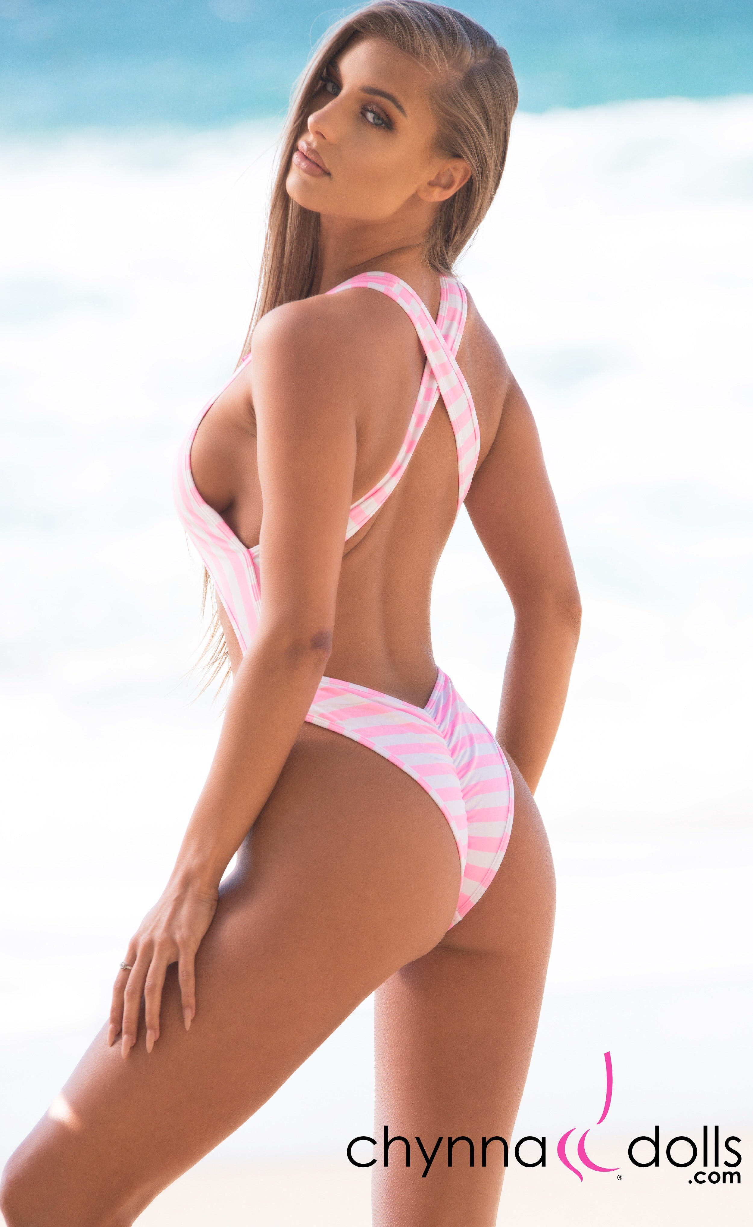 Verona: High Cut Monokini in Pink/White Stripes - Chynna Dolls Swimwear
