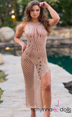 Beverly: Crochet Maxi Dress Cover-up in Metallic Rose Gold - Chynna Dolls