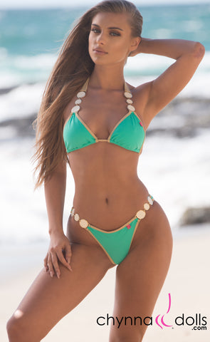 Brooklyn: Designer Swimsuit in Mint w/ Gold Trim