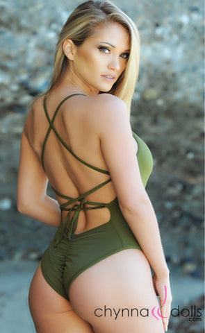 78a3365896 Phoenix: One Piece Adjustable Lace-up Back in Olive Green