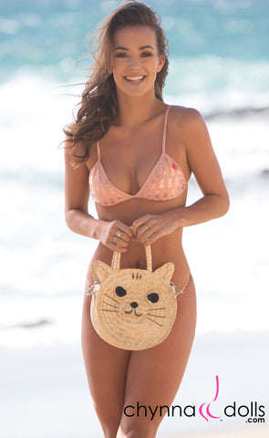 Kitty Cat Straw Handbag - Chynna Dolls Swimwear
