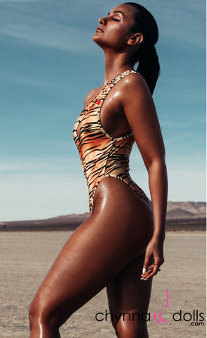 Santorini: Asymmetric Keyhole One-Piece swimsuit in Tiger
