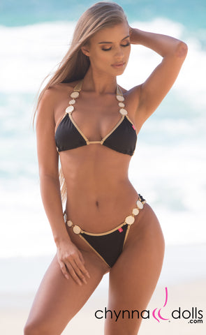 Brooklyn: Designer Swimsuit in Black w/ Gold Trim