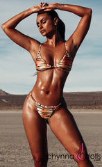 Rio: T-Back Thong Swimsuit in Tiger - Chynna Dolls Swimwear