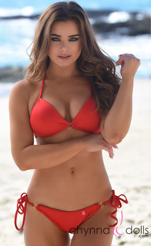 Victoria: Padded Push Up Swimsuit with Gold Rings Details in Red
