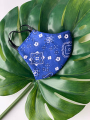 Face Mask: Reversible in Royal Bandanna x Royal - Chynna Dolls Swimwear