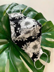 Face Mask: Reversible in Black/White Floral x Black - Chynna Dolls Swimwear