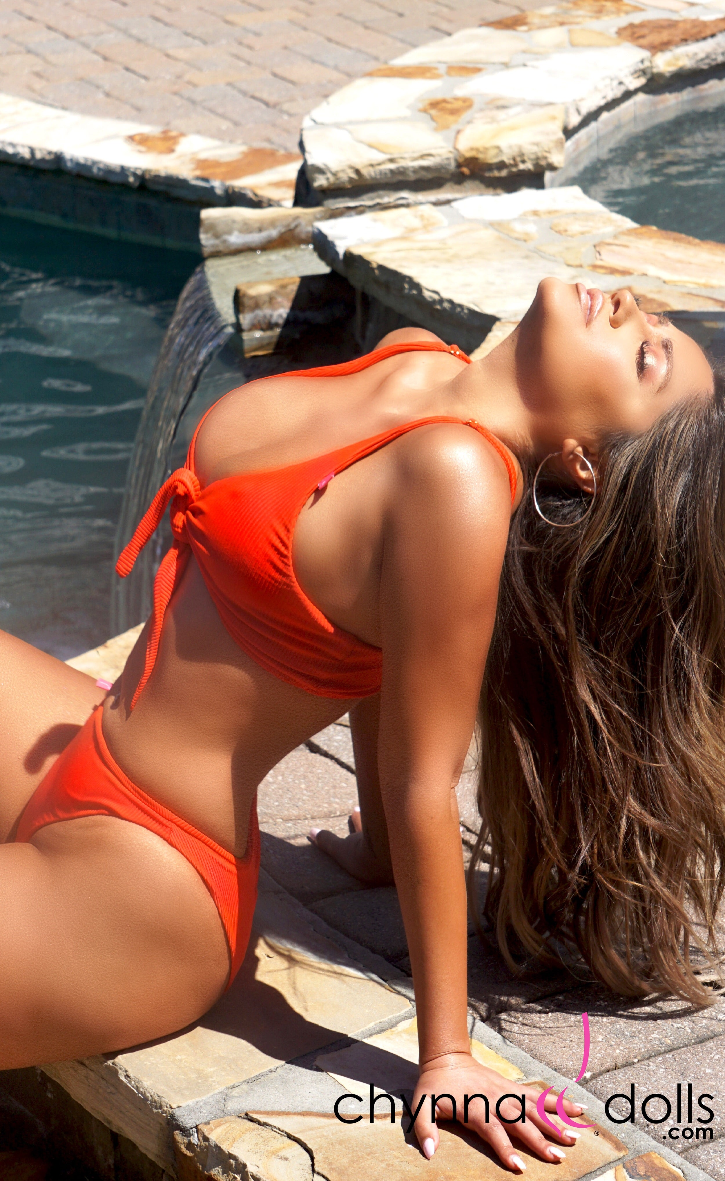 Jessie: Tie Top Swimsuit w/ High Rise Bottoms in Red Rib - Chynna Dolls Swimwear