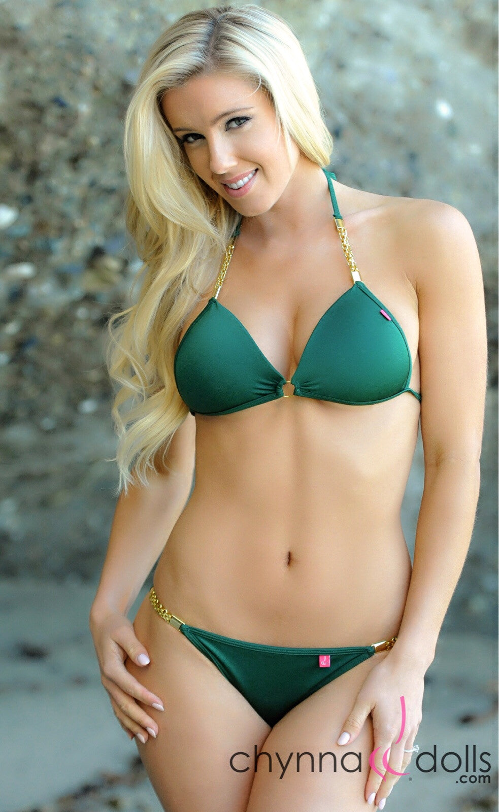 Persia: Padded Push Up Swimsuit w/ Palma Gold Chain in Hunter Green - Chynna Dolls Swimwear