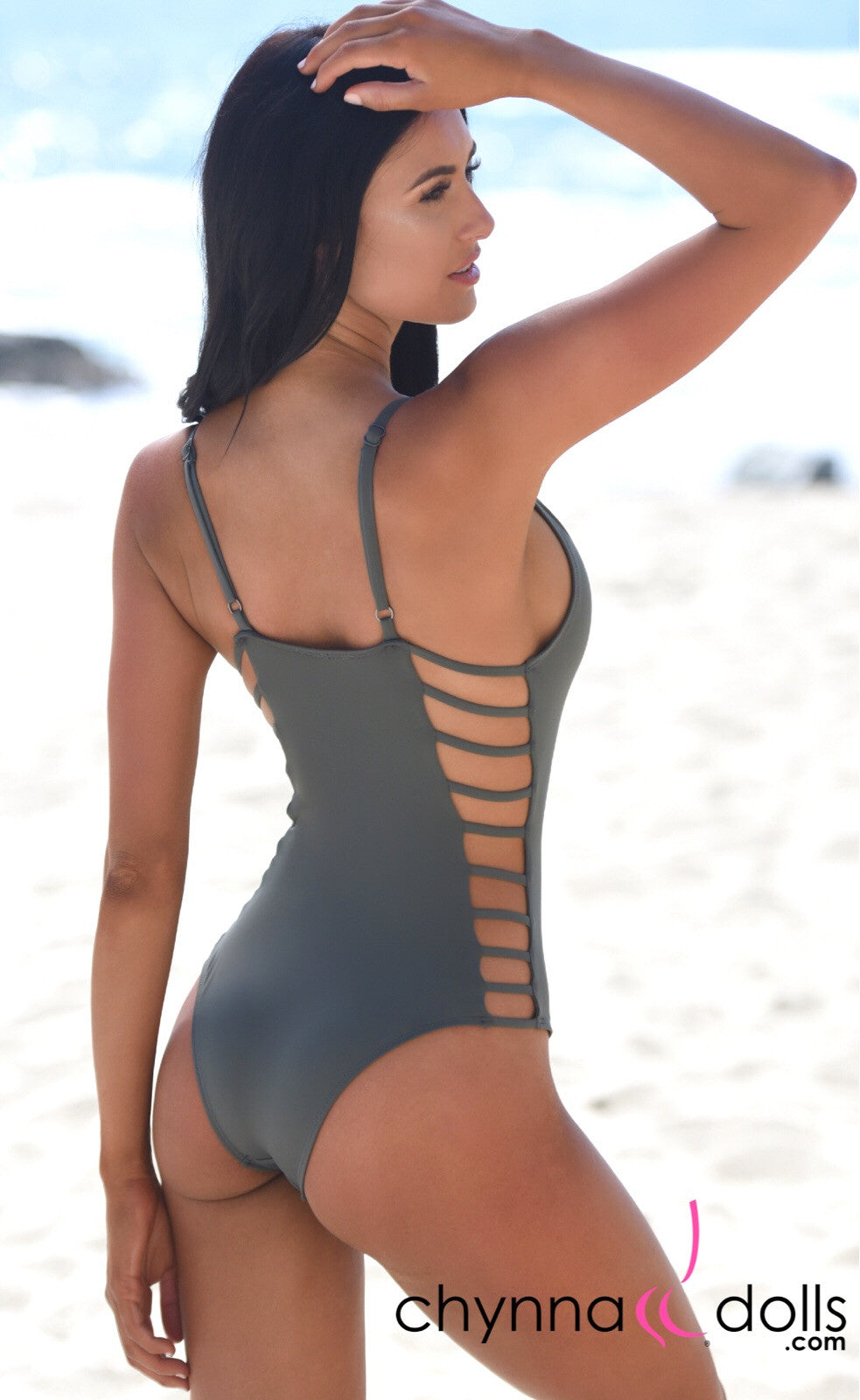 Tuscany: One Piece Swimsuit w/ Ladder Details at the Sides in Stone Gray - Chynna Dolls Swimwear
