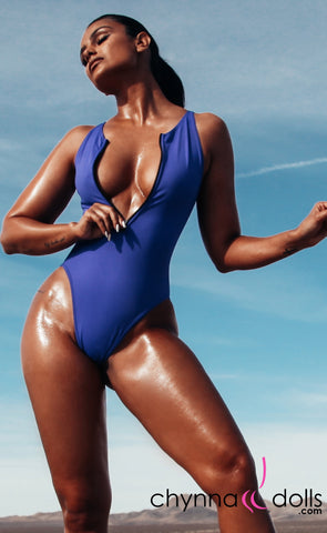 Naz: Zip Front One Piece in Royal Blue - Chynna Dolls Swimwear