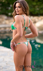Rio: T-Back Thong Swimsuit in Tropical Foliage - Chynna Dolls Swimwear