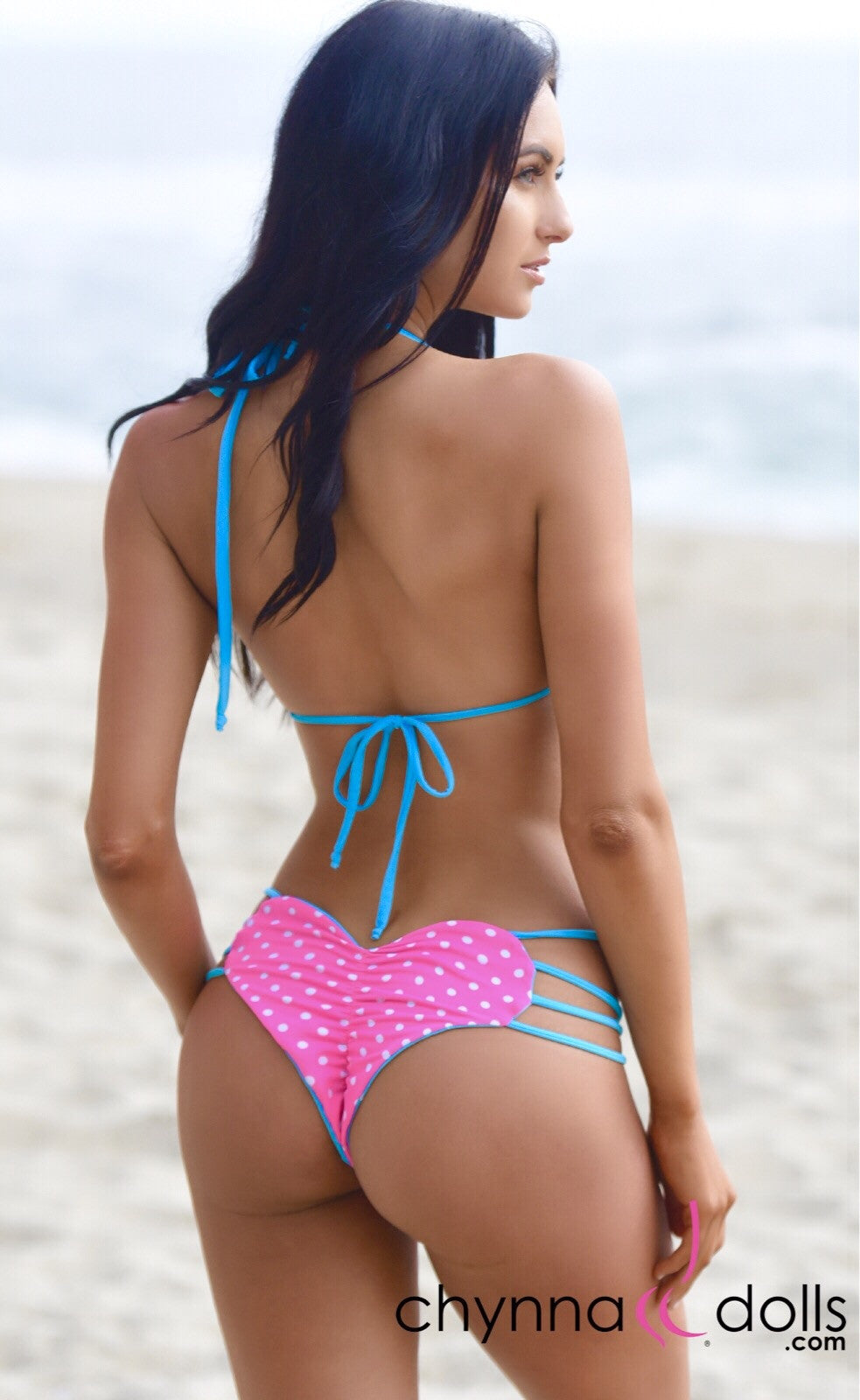Heart Cake: Heart Shaped Reversible Bikini in Aqua x Pink Polka Dots