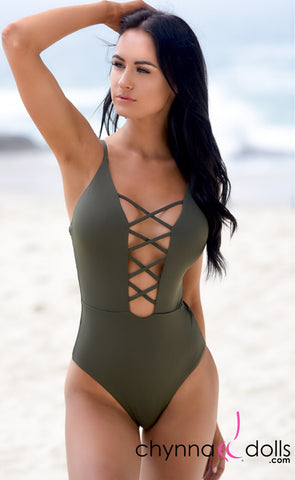 ST. JOHN: Sexy One Piece w/ Cage Front Detail in Olive Green - Chynna Dolls
