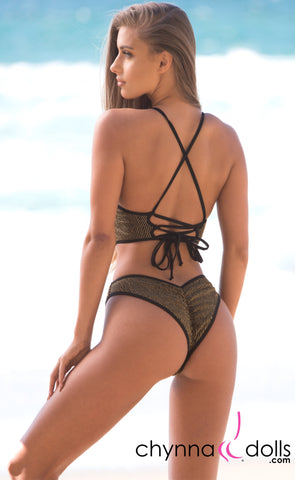 Mykonos: Cut-Out One-Piece Swimsuit in Black w/ Gold Stripes - Chynna Dolls Swimwear