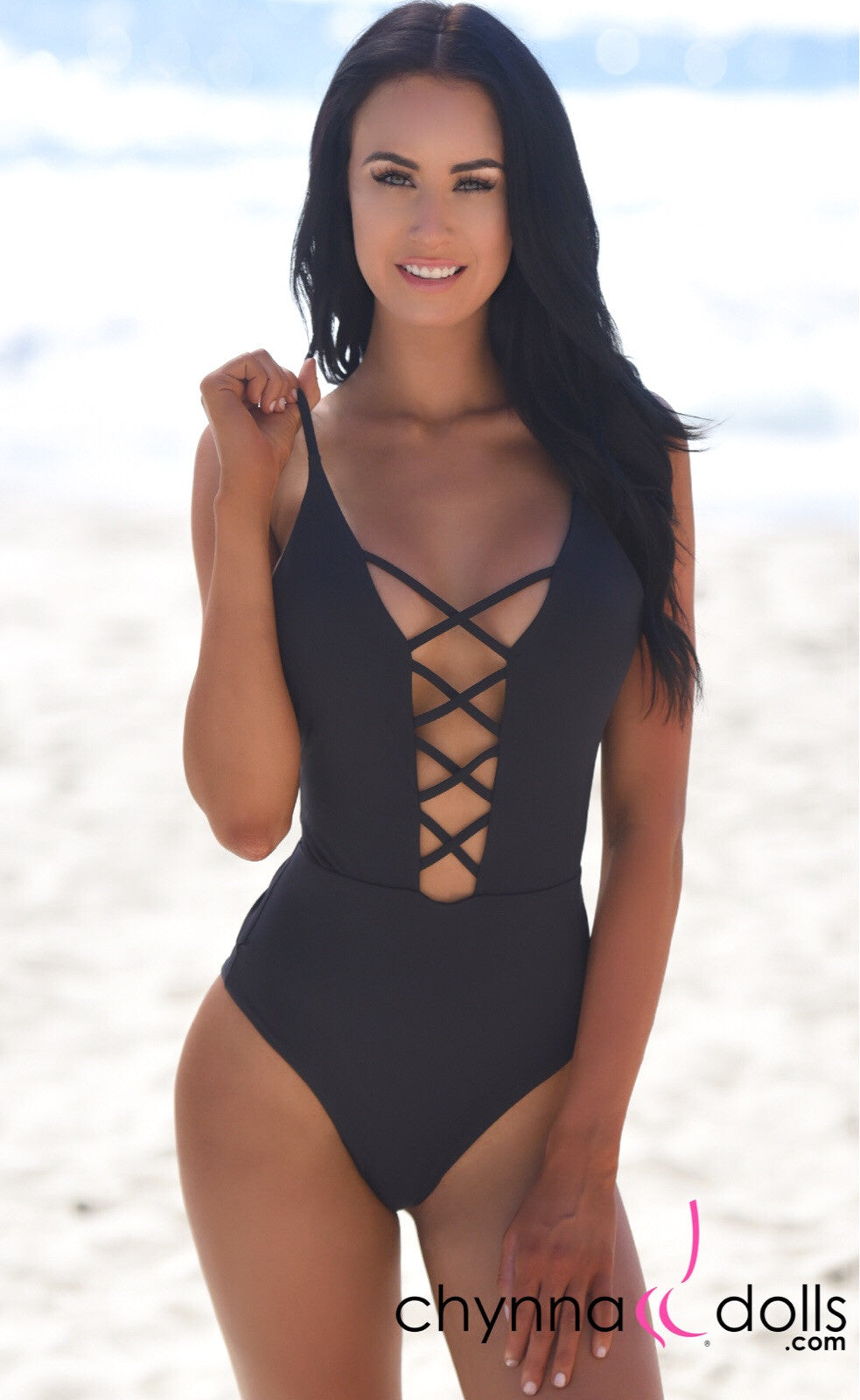 ST. JOHN: Monokini w/ Cage Front Detail in Black