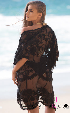 Luna: Lace Coverup with Scallop Detail in Black - Chynna Dolls