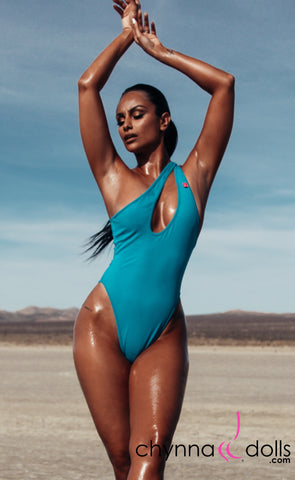 Santorini: Asymmetric Keyhole One-Piece swimsuit in Teal