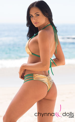 Ibiza: Reversible 4 Strap Diamond Bitty Bikini in Green/Gold - Chynna Dolls Swimwear