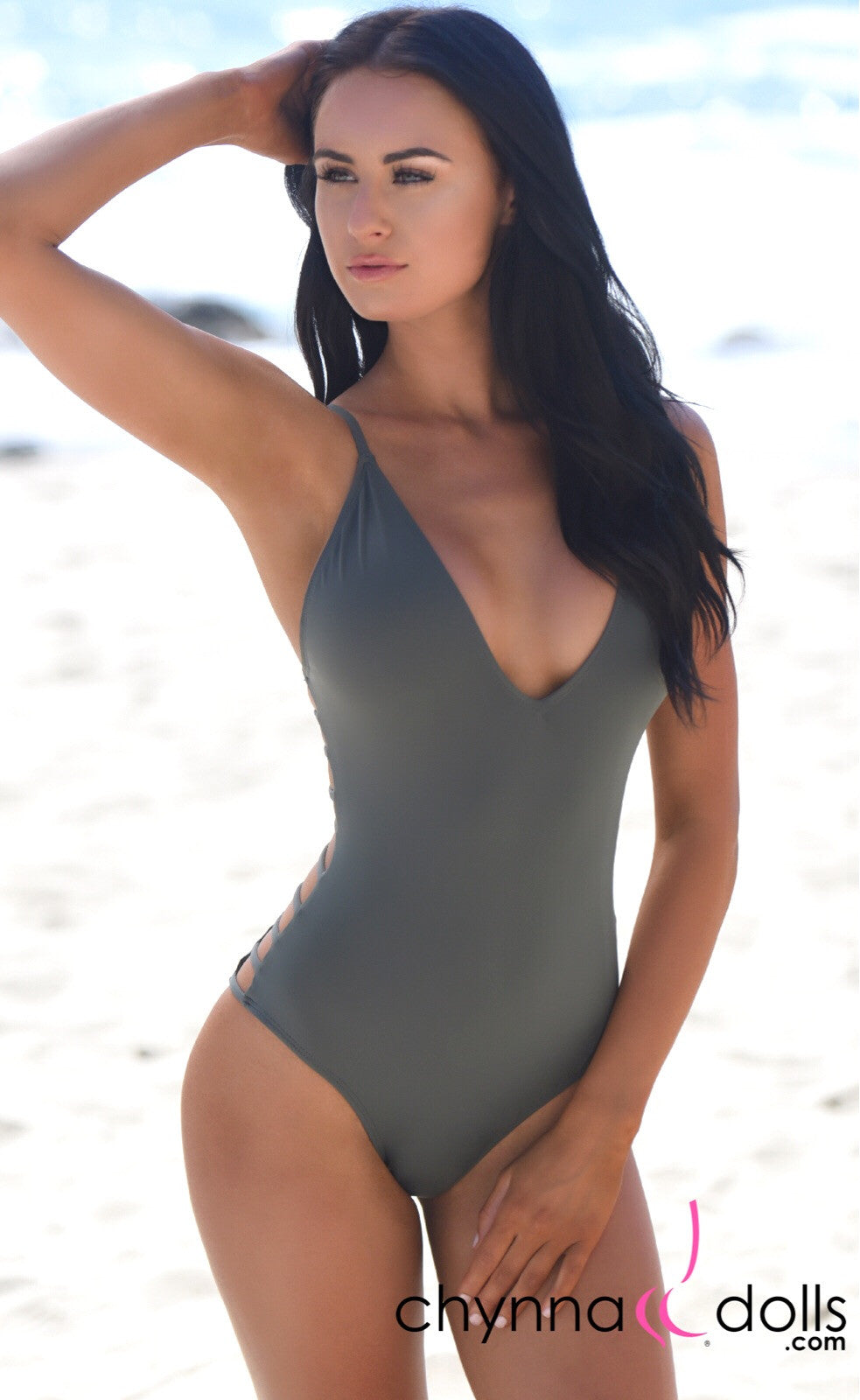 Tuscany: One Piece Swimsuit w/ Ladder Details at the Sides in Stone Gray
