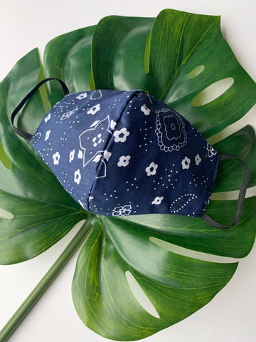 Face Mask: Reversible in Navy Bandanna x Navy - Chynna Dolls Swimwear