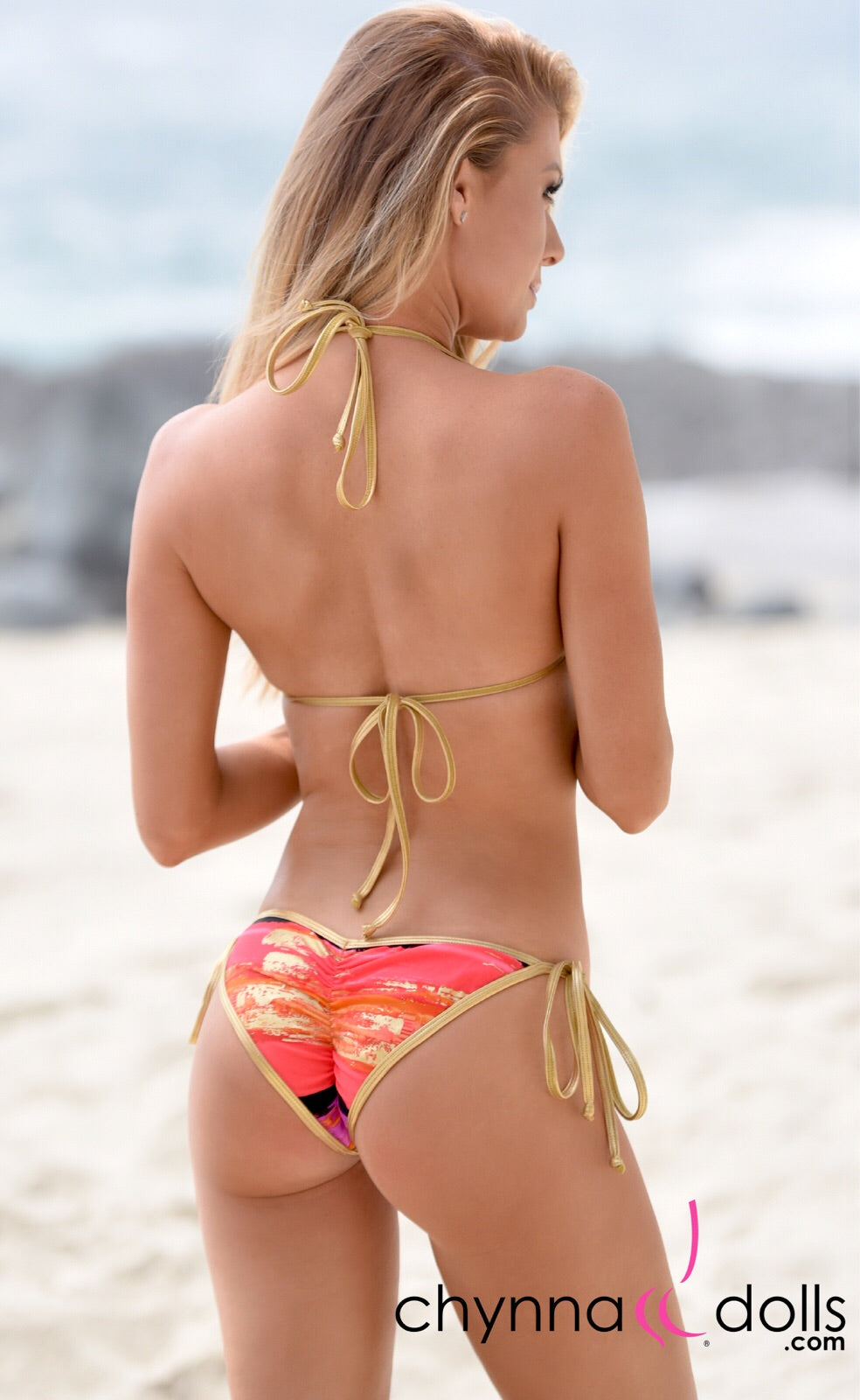 Laguna: Pink/Orange/Gold Shimmer with Metallic Gold Trim - Chynna Dolls Swimwear