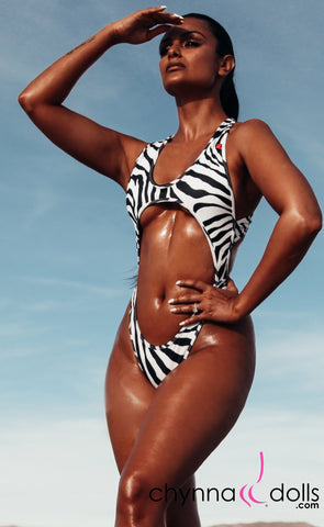 Verona: 80's Inspired High Cut Swimsuit in Zebra