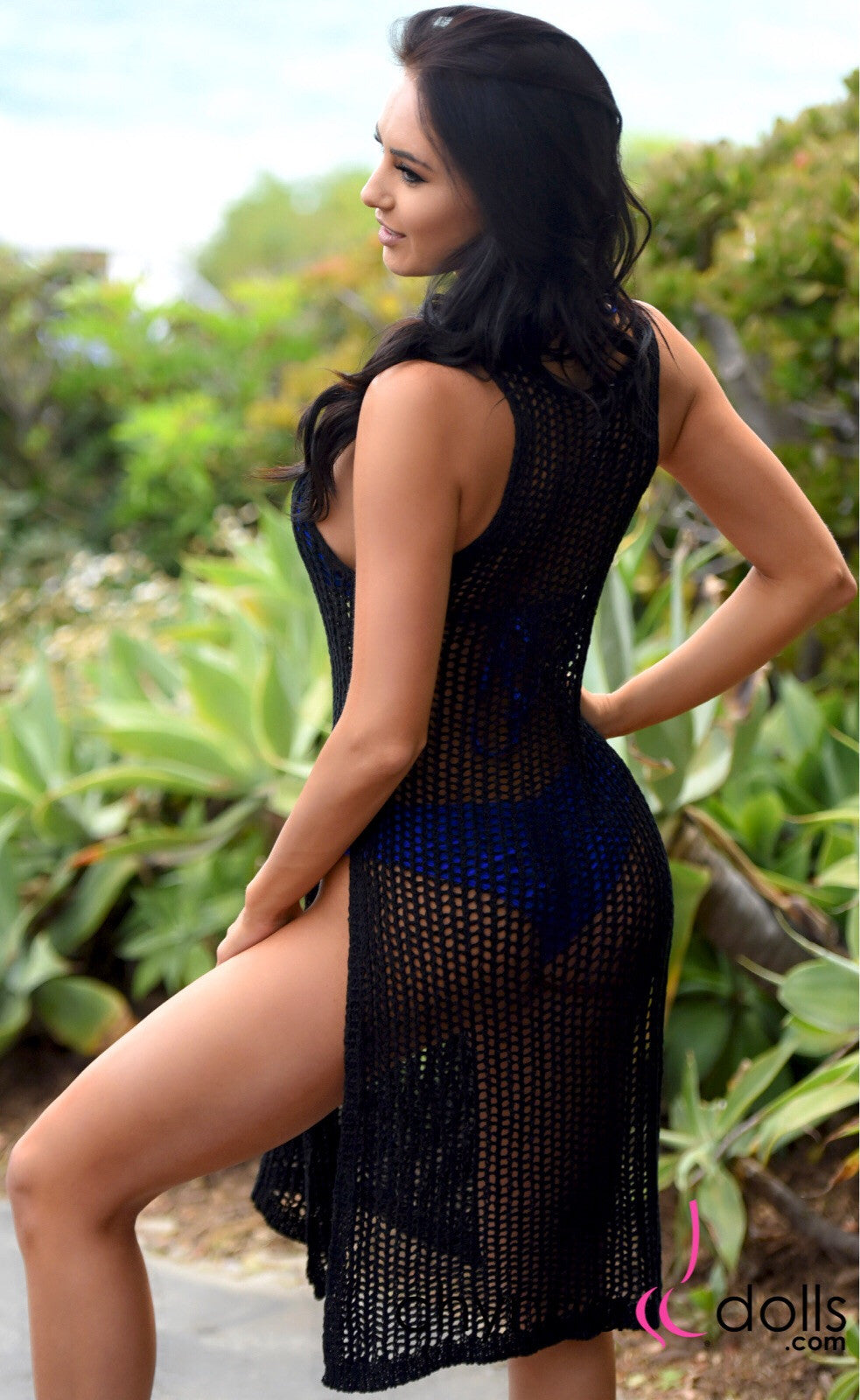 Melrose: Crochet Dress Coverup with Side Slits in Black - Chynna Dolls