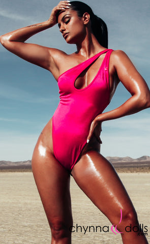 Santorini: Asymmetric Keyhole One-Piece swimsuit in Magenta