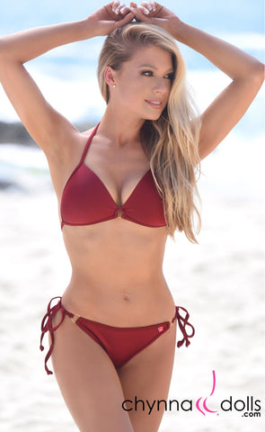 Victoria: Padded Push Up Swimsuit with Gold Rings Details in Wine