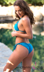 Victoria: Padded Push Up Swimsuit w/ Gold Rings Details in Teal