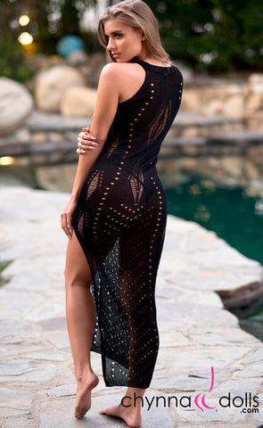 Beverly: Crochet Maxi Dress Cover-up in Black - Chynna Dolls