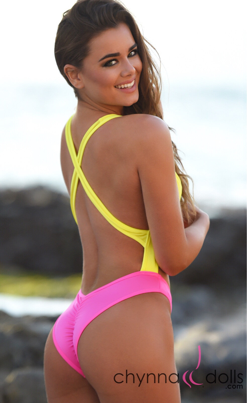 Verona: Color Block 80's Inspired High Cut Swimsuit in Yellow x Neon Pink