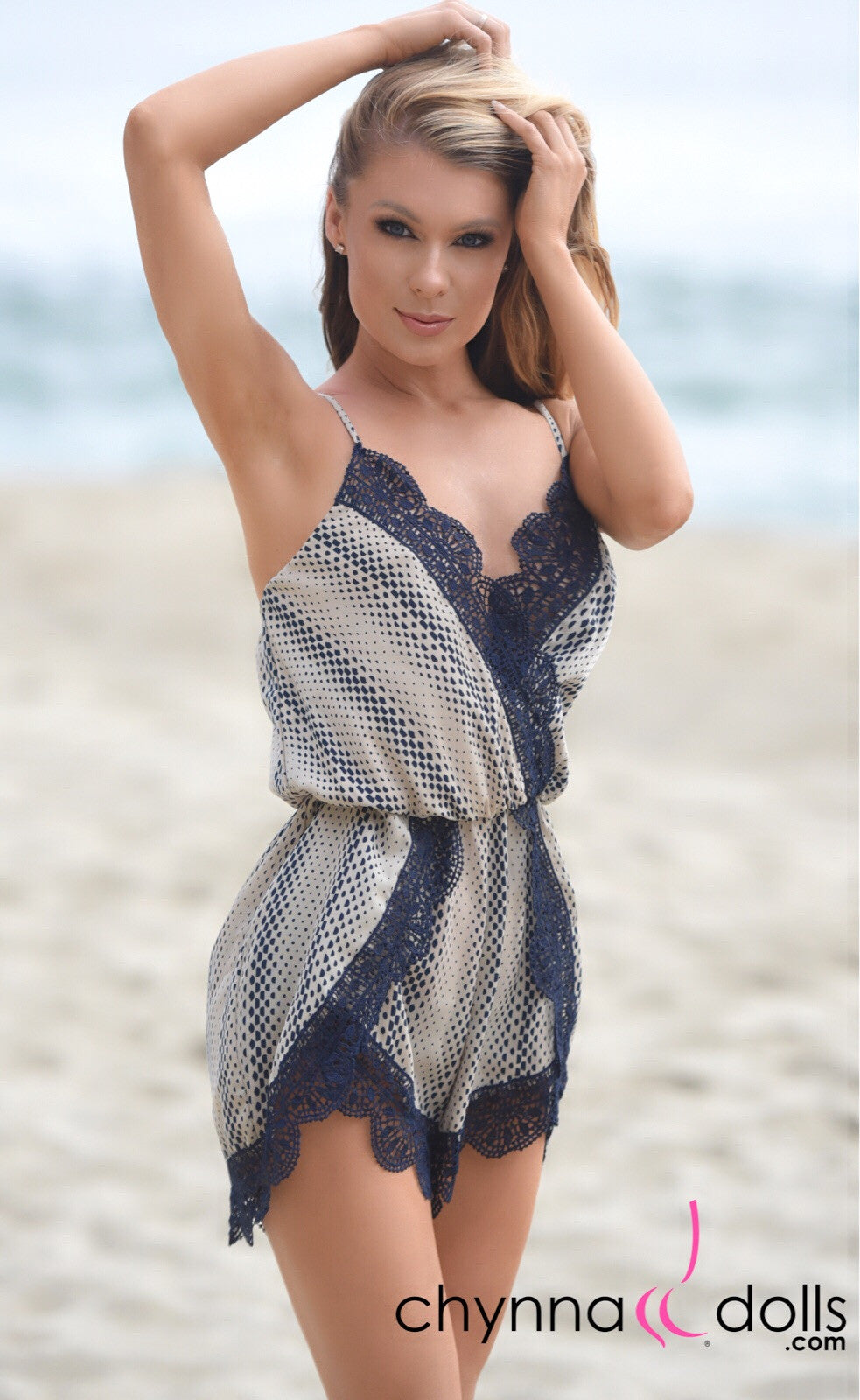 Audrey: Ivory and Navy Crochet trim Romper