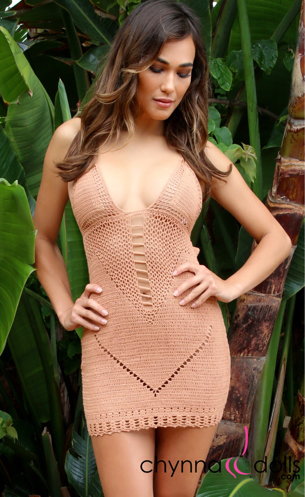 V-Pattern Crochet Dress in Tan - Chynna Dolls