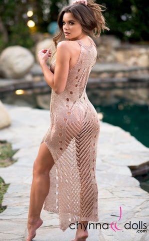 Beverly: Crochet Maxi Dress Cover-up in Metallic Rose Gold - Chynna Dolls Swimwear