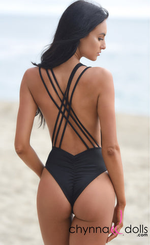 Valencia: Strappy cross cross back one piece swimsuit in Black