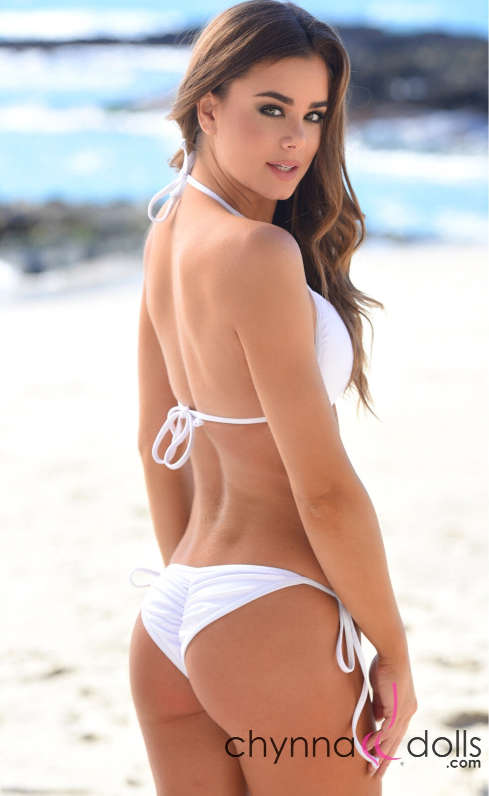 Victoria: Padded Push Up Swimsuit with Gold Rings Details in White