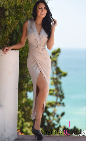 Britany: V-neck, high slit wrap dress in tan