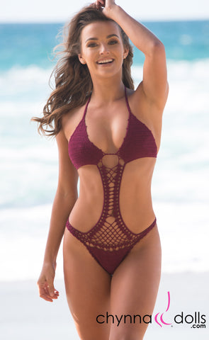 Acapulco: Crochet One Piece in Burgundy