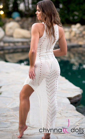 Beverly: Crochet Maxi Dress Cover-up Off White - Chynna Dolls Swimwear