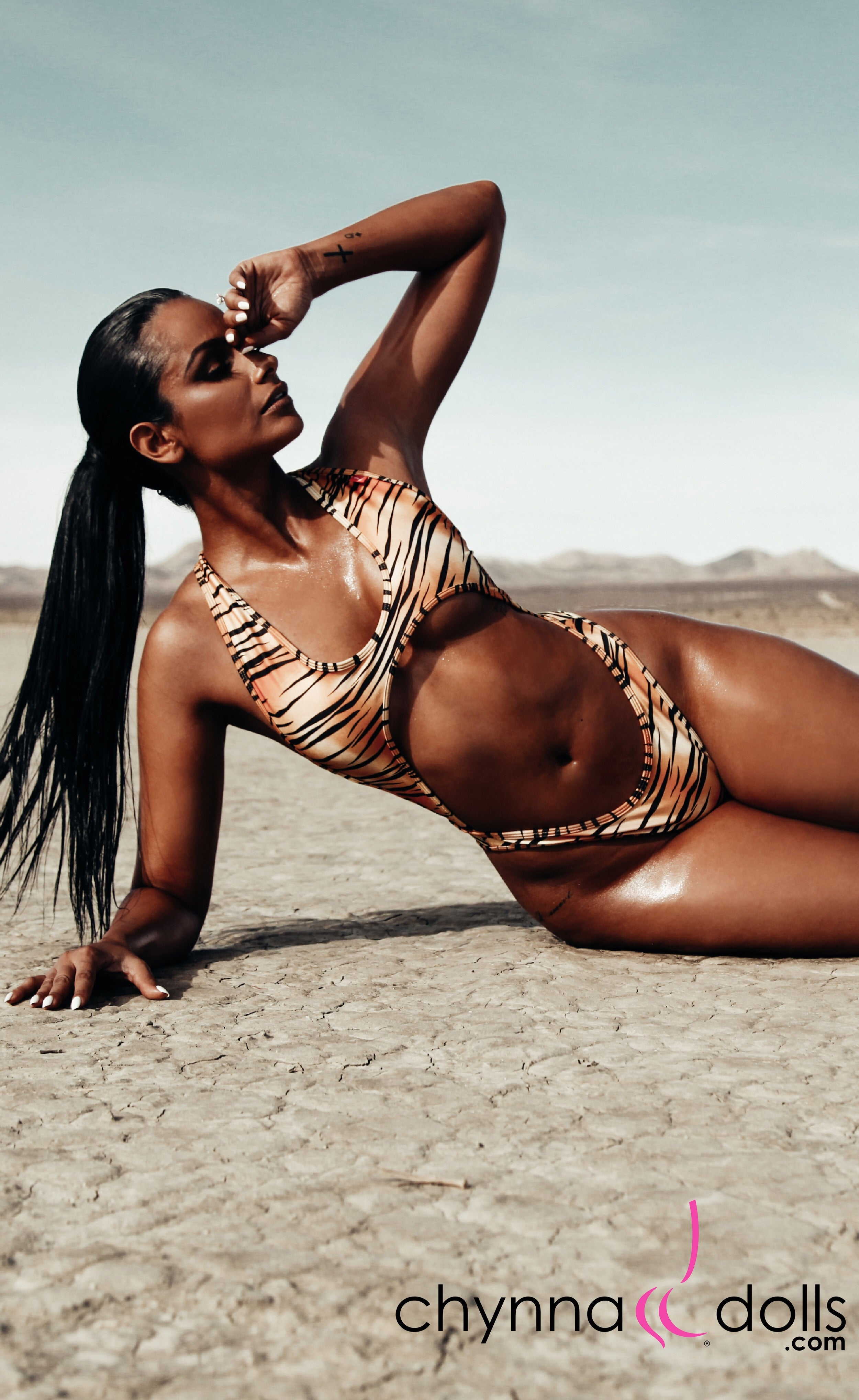 Verona: High Cut Monokini in Tiger - Chynna Dolls Swimwear