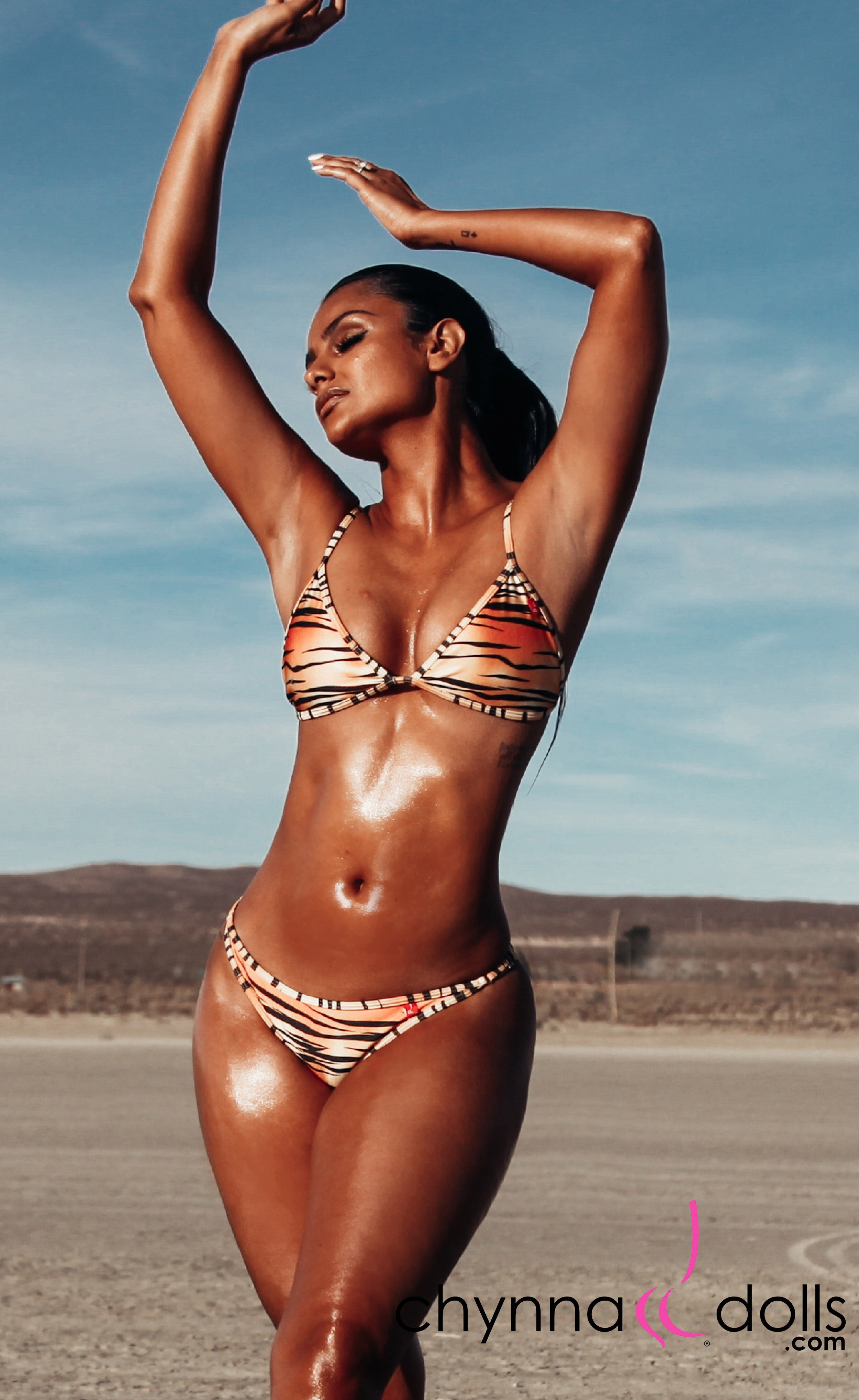 Laguna: String Bathing Suit in Tiger - Chynna Dolls Swimwear