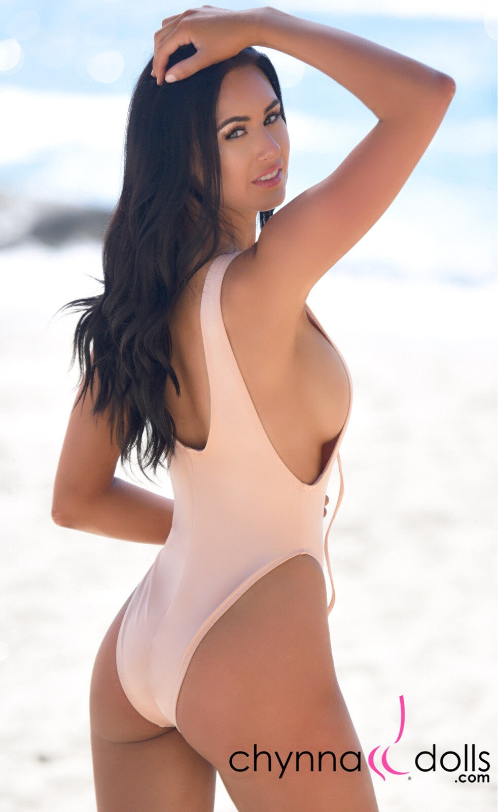 CROATIA: High Cut One Piece Bathing Suit w/ Lace Up Front in Blush - Chynna Dolls