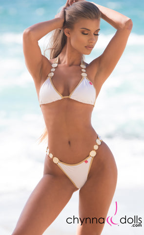 Brooklyn: Designer Swimsuit in White w/ Gold Trim