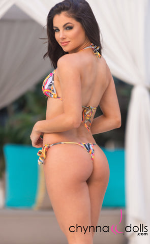 Rio: T-Back Thong Swimsuit in Tropical Sunset