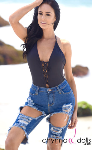 Bermuda: High waisted cutout denim shorts in blue - Chynna Dolls Swimwear