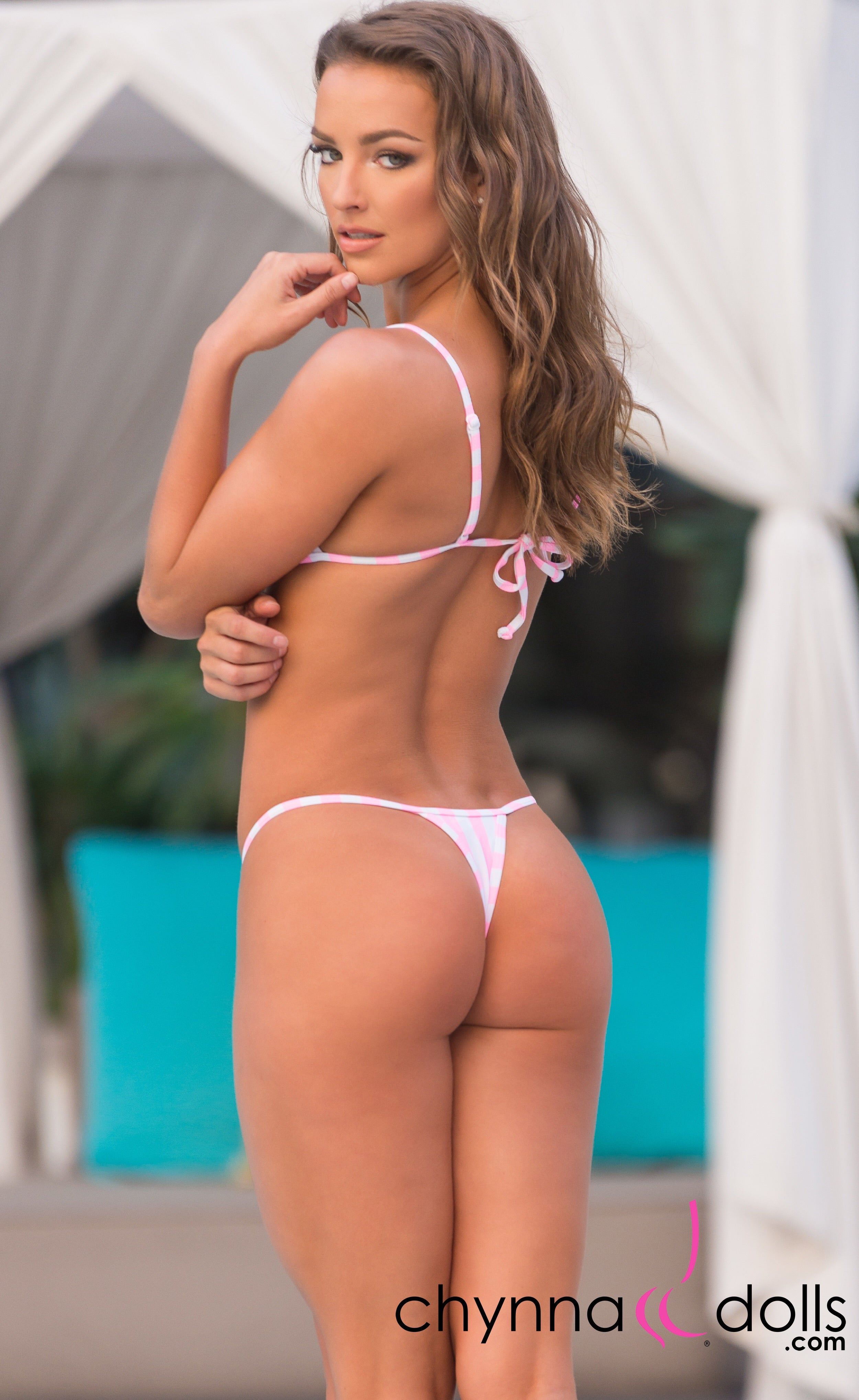 Rio: T-Back Thong Swimsuit in Pink and White Stripes - Chynna Dolls Swimwear